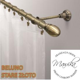 Karnisz metalowy Beluno - stare złoto - rurka fi 19 - pojedynczy - 240 cm