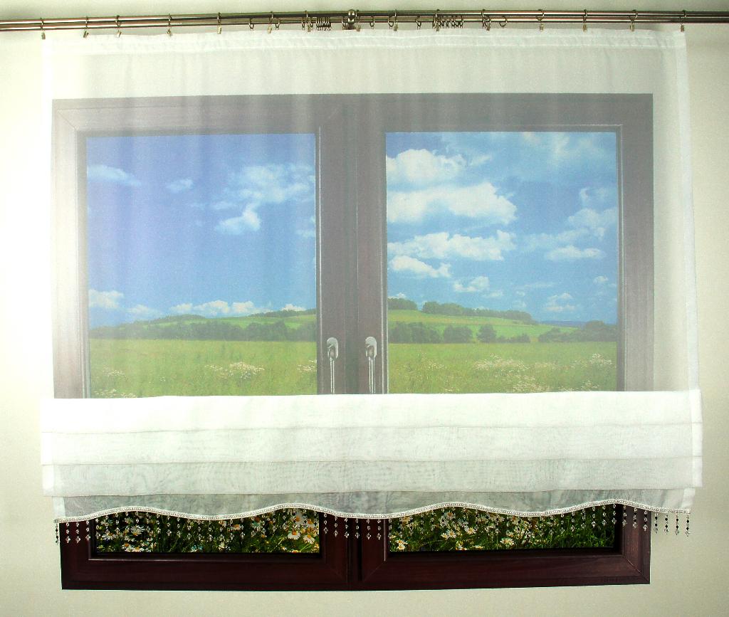 Firana Panel Z Efektowną Dekoracją Koraliki 180 X 140