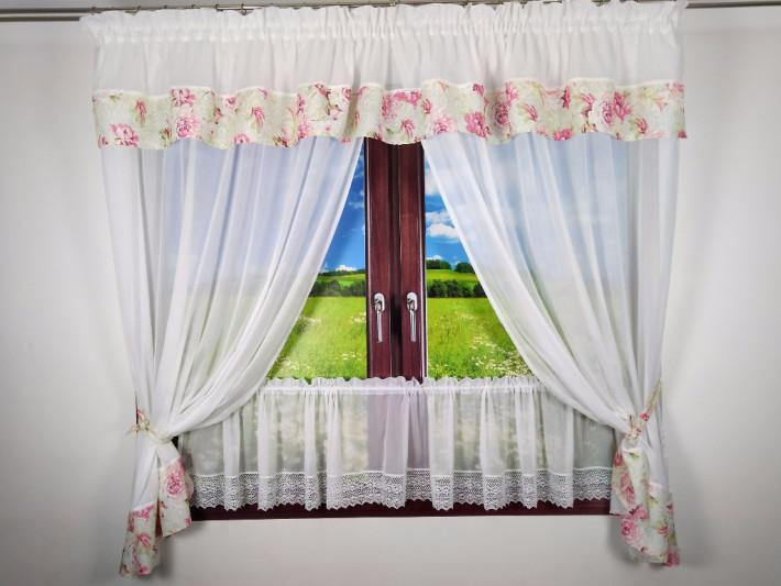 Kwiatowa Dekoracja Okna - Bawełna z Koronką