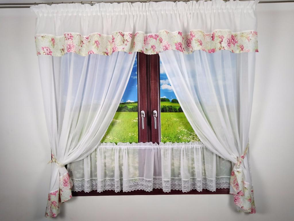 Kwiatowa Dekoracja Okna Bawełna Z Koronką
