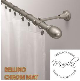 Karnisz metalowy Beluno - chrom mat - rurka fi 19 - pojedynczy - 240 cm