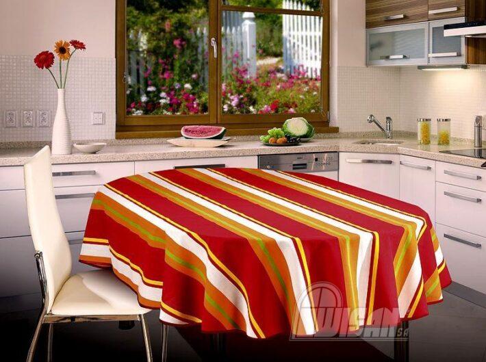 Obrus owalny Arizona 130 x 180 czerwono-pomarańczowy