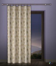 Tkanina zasłonowa w Róże złota i bordowa 4848