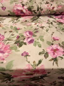 Tkanina zasłonowa drukowana Różowe kwiaty na zielonym tle 2115