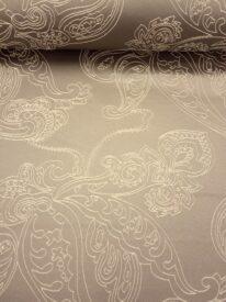 Tkanina zasłonowa brąz w kremowy ornament Zawijas