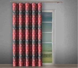 Tkanina zasłonowa geometryczna Czerwono- Czarna 4611 d2